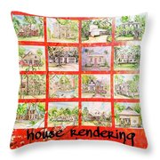 House Rendering Card Throw Pillow