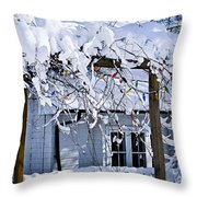 House Under Snow Throw Pillow