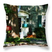 House With Turquoise Shutters Throw Pillow
