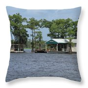 Houseboat - Atchafalaya Basin Throw Pillow