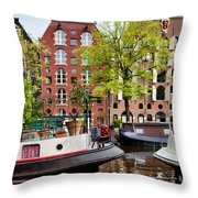 Houseboats And Houses On Brouwersgracht Canal In Amsterdam Throw Pillow