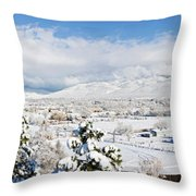 Houses And Trees Covered With Snow Throw Pillow