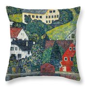 Houses At Unterach On The Attersee Throw Pillow