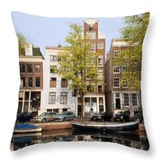 Houses In Amsterdam Throw Pillow