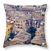 Houses Of Old City Of Siena - Tuscany - Italy - Europe Throw Pillow