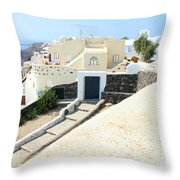 Houses Oia Santorini Throw Pillow