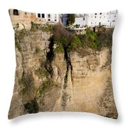 Houses On Rock In Ronda Throw Pillow