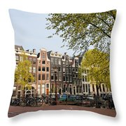 Houses On Singel Canal In Amsterdam Throw Pillow