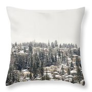 Houses On The Mountain In Winter Throw Pillow