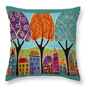 Houses Trees Folk Art Abstract  Throw Pillow