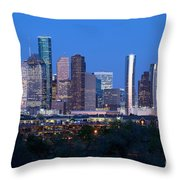Houston Night Skyline Throw Pillow