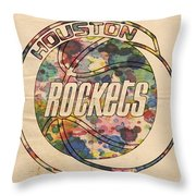 Houston Rockets Vintage Poster Throw Pillow
