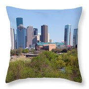 Houston Skyline And Buffalo Bayou Throw Pillow