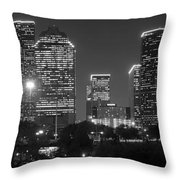 Houston Skyline At Night Black And White Bw Throw Pillow