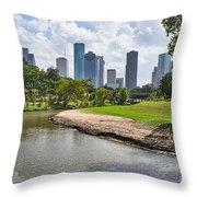 Houston Skyline On The Bayou Throw Pillow
