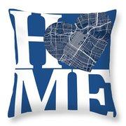 Houston Street Map Home Heart - Houston Texas Road Map In A Hear Throw Pillow