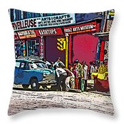 How To Change A Tire Comic Throw Pillow