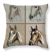 How To Draw A Horse Portrait Throw Pillow