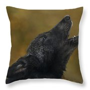 Howling Gray Wolf Pup Endangered Species Wildlife Rescue Throw Pillow