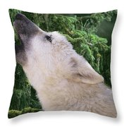 Howlling Arctic Wolf Pup Endangered Species Wildlife Rescue Throw Pillow