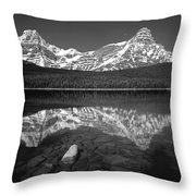 1m3643-bw-howse Peak Mt. Chephren Reflect-bw Throw Pillow