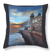Howth Harbour Lighthouse Throw Pillow