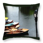 Hoyt Lakes Rowboats In Delaware Park Buffalo Ny Oil Painting Effect Throw Pillow