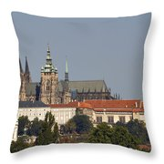 Hradcany - Cathedral Of St Vitus On The Prague Castle Throw Pillow