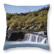 Hraunfossar Iceland 9 Throw Pillow