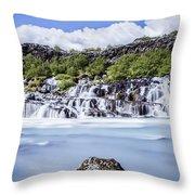 Hraunfossar Iceland Throw Pillow
