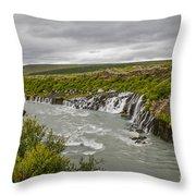 Hraunfossar Waterfall In Iceland Throw Pillow