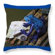 Huckleberry Frog II Throw Pillow