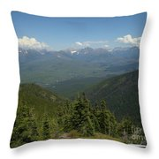 View Of The Rockies From Huckleberry Mountain Glacier National Park Throw Pillow