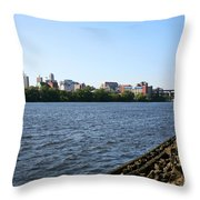Hudson River And Albany Skyline Throw Pillow