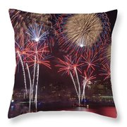 Hudson River Fireworks Viii Throw Pillow by Clarence Holmes