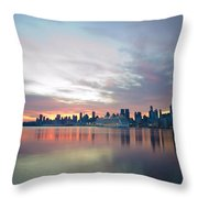 Hudson River Sunrise Nyc Throw Pillow
