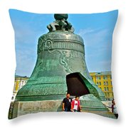 Huge Bell That Cracked In A Pit Inside Kremlin Walls In Moscow-r Throw Pillow
