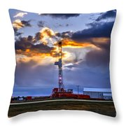 Sunset Over The Oil Rigs Throw Pillow