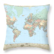 Huge Hi Res Mercator Projection Political World Map   Throw Pillow