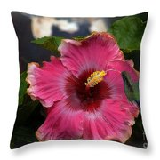 Huge Mexican Desire Hibiscus With Hummingbird Throw Pillow