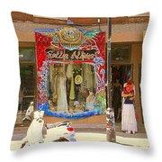 Hugs At Les Folles Allies Vintage Couture Friperie Farewell Goodbye Mont Royal City Scene C Spandau  Throw Pillow