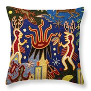 Huichol Yarn Painting Mexico Throw Pillow