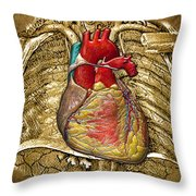 Human Heart Over Vintage Chart Of An Open Chest Cavity Throw Pillow