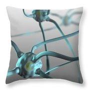 Human Nerve Cells, Computer Artwork Throw Pillow
