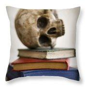 Human Skull And Books Throw Pillow