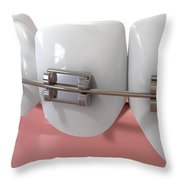 Human Teeth Extreme Closeup With Metal Braces Throw Pillow by Allan Swart