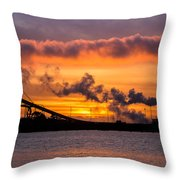 Humboldt Bay Industry At Sunset Throw Pillow