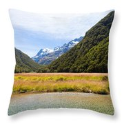 Humboldt Mountains Seen From Routeburn Track Nz Throw Pillow