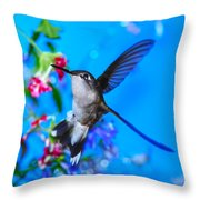 Hummer And Flowers On Acrylic Throw Pillow