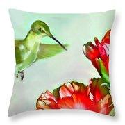 Humming Bird And Cactus Flowers Throw Pillow